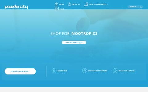 Screenshot of Home Page powdercity.com - Buy Nootropics and Bulk Supplements | PowderCity.Com - captured May 18, 2018
