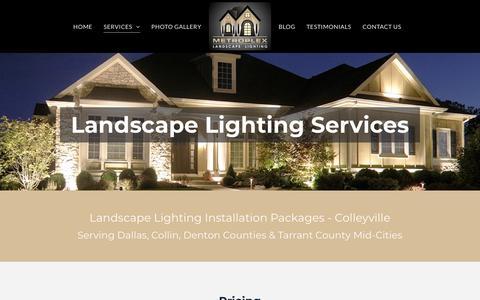 Screenshot of Services Page metroplexlandscapelighting.com - Landscape Lighting Installation Colleyville | Metroplex Landscape Lighting - captured Sept. 20, 2018