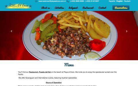 Screenshot of Menu Page playaelcoco.com.ni - Parque Marítimo El Coco - captured Jan. 25, 2016