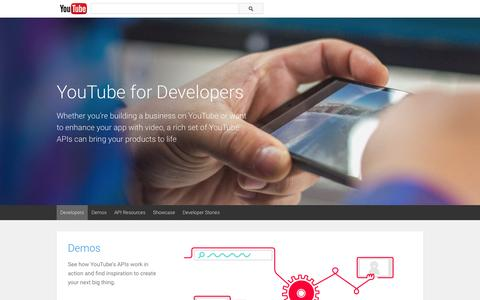 Screenshot of Developers Page youtube.com - YouTube for Developers - YouTube - captured Nov. 17, 2015