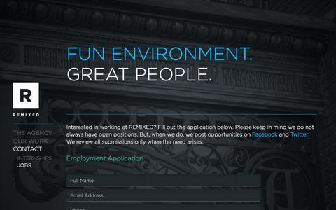 Screenshot of Jobs Page r3mx.com - ADVERTISING AGENCY ORLANDO : REMIXED - Jobs - A MARKETING + DESIGN AGENCY : GRAPHIC DESIGN ORLANDO : AD AGENCY - captured July 5, 2017
