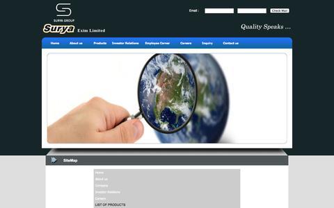 Screenshot of Site Map Page surya-exim.com - SiteMap :: Surya Exim Limited :: India - captured Oct. 7, 2014