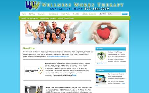 Screenshot of Press Page wellnessworkstherapy.com - News Room — Wellness Works Therapy - captured Oct. 1, 2014