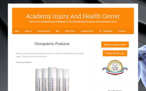 Screenshot of Products Page academyinjuryandhealth.com - Chiropractic Products | Academy Injury And Health Center - captured Oct. 4, 2014