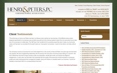 Screenshot of Testimonials Page henrypeters.com - CPA, Valuation, Business Value, Succession Planning, Estate and Gift Tax Valuation, Tyler TX, East Texas | Testimonials - captured Nov. 7, 2016