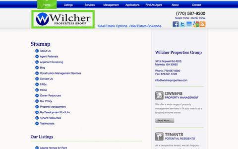 Screenshot of Site Map Page wilcherproperties.com - Sitemap - captured Oct. 7, 2014