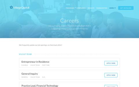 Screenshot of Jobs Page vilcap.com - Careers | Village Capital - captured Dec. 1, 2016