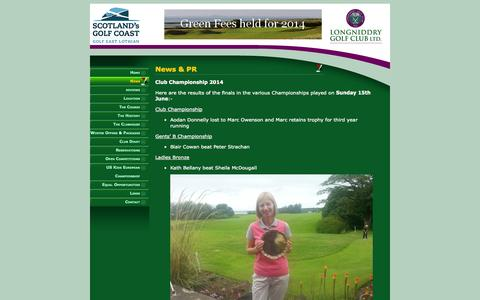 Screenshot of Press Page longniddrygolfclub.co.uk - Longniddry Golf Club - News - captured Sept. 30, 2014