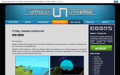 Screenshot of Blog untold-universe.com - Untold Universe   Dev Blog   Follow the game development progress! - captured Nov. 3, 2014