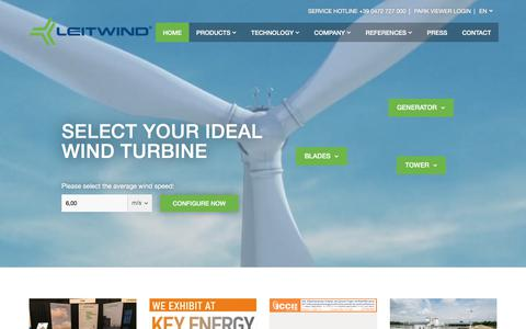 Screenshot of Home Page leitwind.com - Home – LEITWIND Wind Turbines - Leitwind - captured July 18, 2018