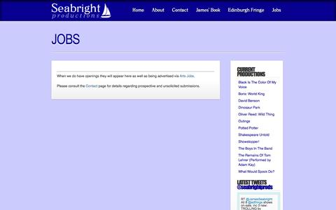 Screenshot of Jobs Page seabrights.com - » Jobs » Seabright Productions » - captured May 13, 2016