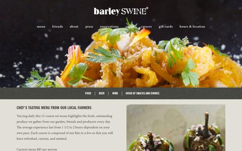 Screenshot of Menu Page barleyswine.com - Barley Swine - captured Nov. 14, 2015