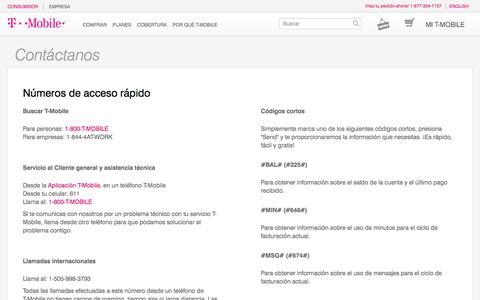Screenshot of Contact Page t-mobile.com - Servicio y atención al cliente | Asistencia técnica | T-Mobile - captured June 28, 2017
