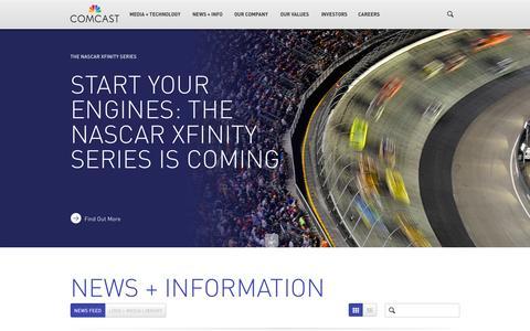 Screenshot of Press Page comcast.com - News + Information - captured Sept. 13, 2014