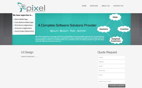 Screenshot of Services Page ipixelsolutions.com - Web User Interface (UI) Design | User Interface (UI) Services India - Pixel Solutions - captured Sept. 30, 2014