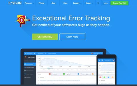 Screenshot of Home Page raygun.io - Automatic error tracking and crash reporting - raygun.io - captured Sept. 23, 2014