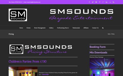 Screenshot of Pricing Page smsounds.co.uk - Pricing - №1Disco Weston~super~Mare - captured Dec. 19, 2015