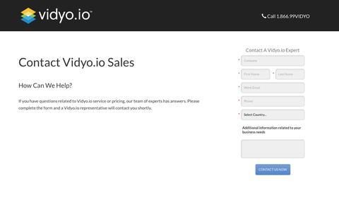 Screenshot of Landing Page vidyo.com - Contact Vidyo.io Sales Team - captured Oct. 24, 2017