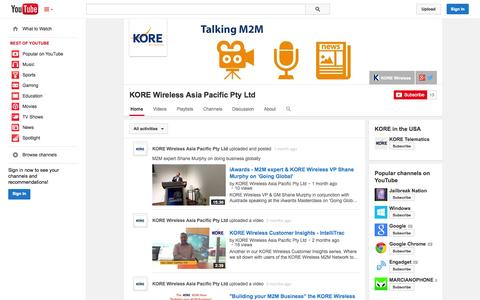 Screenshot of YouTube Page youtube.com - KORE Wireless Asia Pacific Pty Ltd  - YouTube - captured Oct. 23, 2014