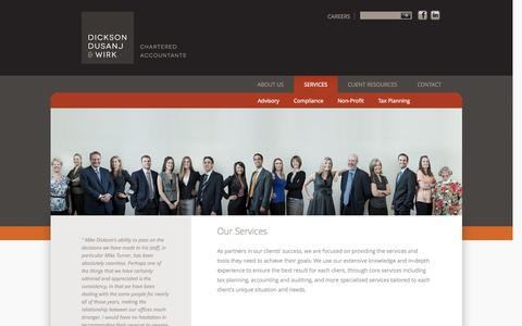 Screenshot of Services Page ddwca.com - Our Services | Dickson Dusanj Wirk | Chartered Accountants - captured Oct. 5, 2014