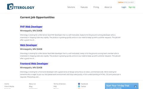 Screenshot of Jobs Page otterology.com - Employment :: Otterology Inventory Management - captured Sept. 17, 2014