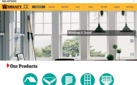 Screenshot of Products Page wimsattdirect.com - Products | Wimsatt Building Materials - captured Oct. 19, 2018