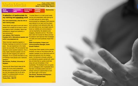 Screenshot of Testimonials Page vadamedia.co.uk - Testimonials - Vada Media - captured Oct. 29, 2014