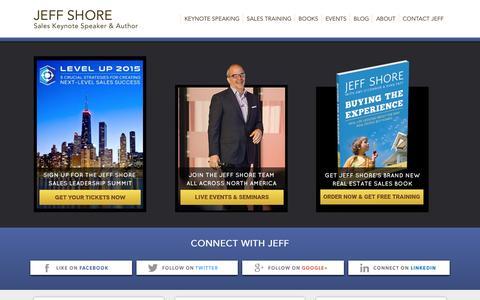 Screenshot of Home Page jeffshore.com - Jeff Shore   Sales Keynote Speaker   Sales Training - captured Sept. 4, 2015