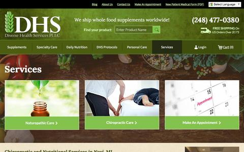 Screenshot of Services Page diversehealthservices.com - Chiropractic and Nutritional Services in Novi, MI - captured Aug. 2, 2016