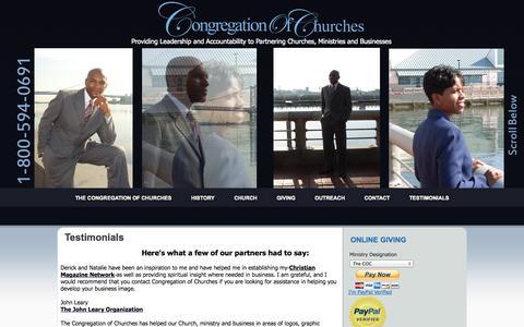 Screenshot of Testimonials Page congregationofchurches.org - Testimonials - captured Nov. 1, 2014