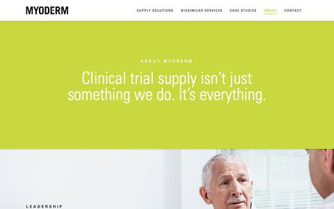 Screenshot of About Page myoderm.com - Global Clinical Trial Supply Services | Commercial Drug Sourcing Specialists - captured Dec. 17, 2016
