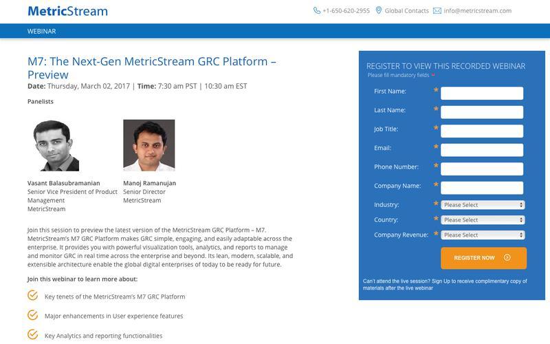 WEBINAR: M7: The Next-Gen MetricStream GRC Platform – Preview