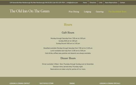 Screenshot of Hours Page oldinn.com - Hours - The Old Inn on the Green - Historic Inn & Fine Dining - captured June 23, 2016
