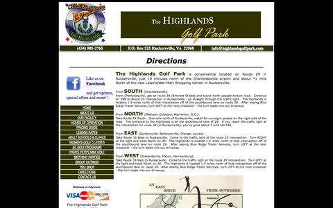 Screenshot of Maps & Directions Page highlandsgolfpark.com - Directions to the Highlands Golf Park near Charlottesville, Va. - captured Sept. 30, 2014