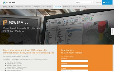 Screenshot of Trial Page autodesk.com - Download PowerMill 2018 | Free Trial | Autodesk - captured May 15, 2017