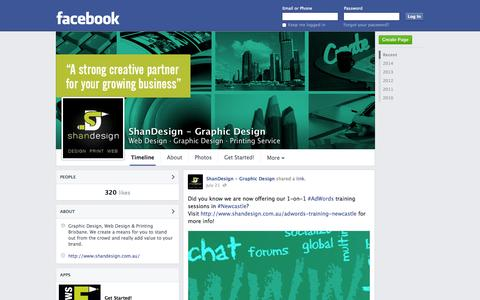 Screenshot of Facebook Page facebook.com - ShanDesign - Graphic Design - Brisbane, QLD - Web Design, Graphic Design | Facebook - captured Oct. 23, 2014