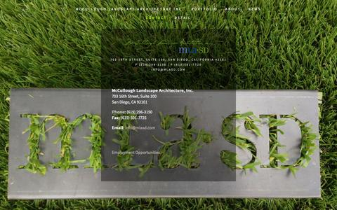 Screenshot of Contact Page mlasd.com - Contact Us McCullough Landscape Architecture | Commercial Landscape Architecture — mlasd.com - captured Oct. 27, 2014