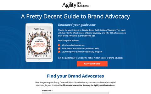 Screenshot of Landing Page agilitypr.com - A Pretty Decent Guide to Brand Advocacy - captured Aug. 31, 2017