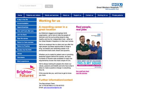 Screenshot of Jobs Page gwh.nhs.uk - Working for us - Great Western Hospitals NHS Foundation Trust - captured Sept. 30, 2018
