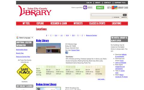 Screenshot of Locations Page tulsalibrary.org - Locations | Tulsa City-County Library - captured Oct. 12, 2017