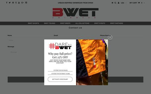 Screenshot of Contact Page bwet.com - Be Noticed by BWET Swimwear - captured Oct. 5, 2018