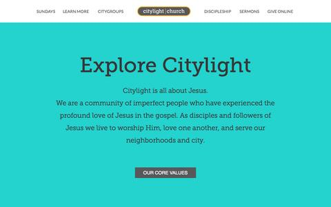 Screenshot of About Page citylightphilly.com - Learn More « Citylight Church - captured Oct. 2, 2014