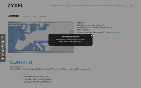 Screenshot of Contact Page zyxel.com - Contatti   Zyxel - captured Dec. 13, 2018