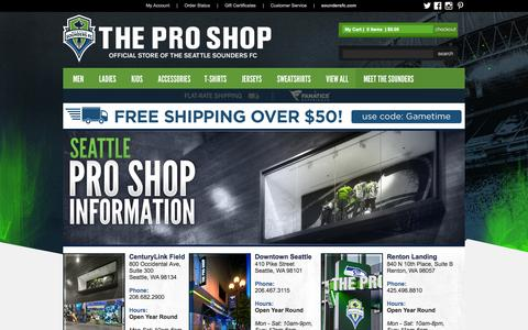 Screenshot of Locations Page soundersfc.com - - Sounders Soccer Store - captured Sept. 23, 2014