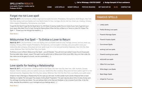 Screenshot of Blog kimlostlovespells.com - Powerful working spells - captured Feb. 17, 2018