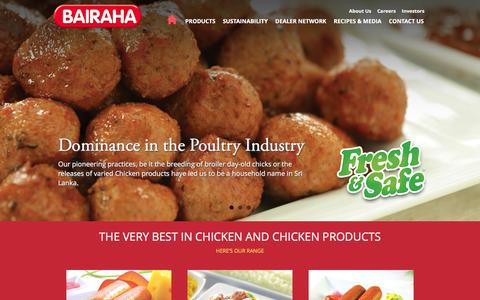 Screenshot of Home Page bairaha.com - Bairaha Farms PLC - captured Feb. 7, 2016