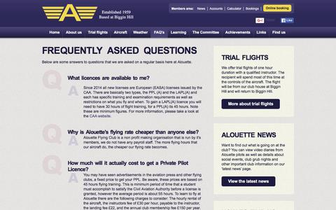 Screenshot of FAQ Page alouette.org.uk - Alouette Flying Club - Frequently Asked Questions - captured Feb. 5, 2016
