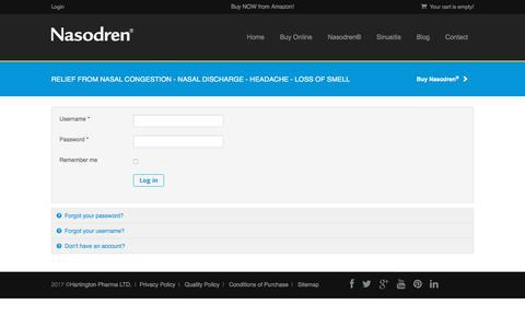 Screenshot of Login Page nasodren.com - Login - Nasodren® for sinusitis treatment - captured Oct. 19, 2017