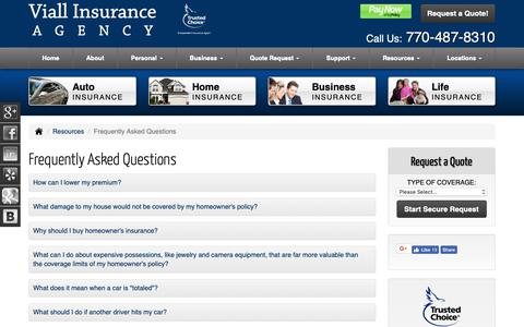 Screenshot of FAQ Page insurancepeachtreecityga.com - Frequently Asked Questions - Peachtree City Georgia - Viall Insurance Agency - captured Oct. 19, 2018