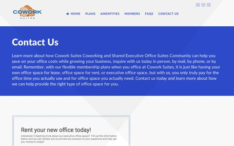 Screenshot of Contact Page coworksuites.com - Contact Us – Cowork Suites - captured May 22, 2017